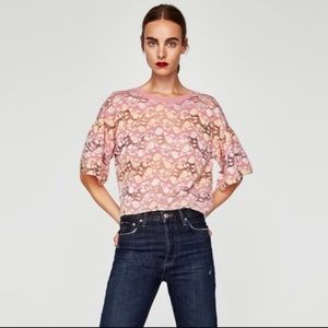 Zara Floral Lace boxy-cropped top